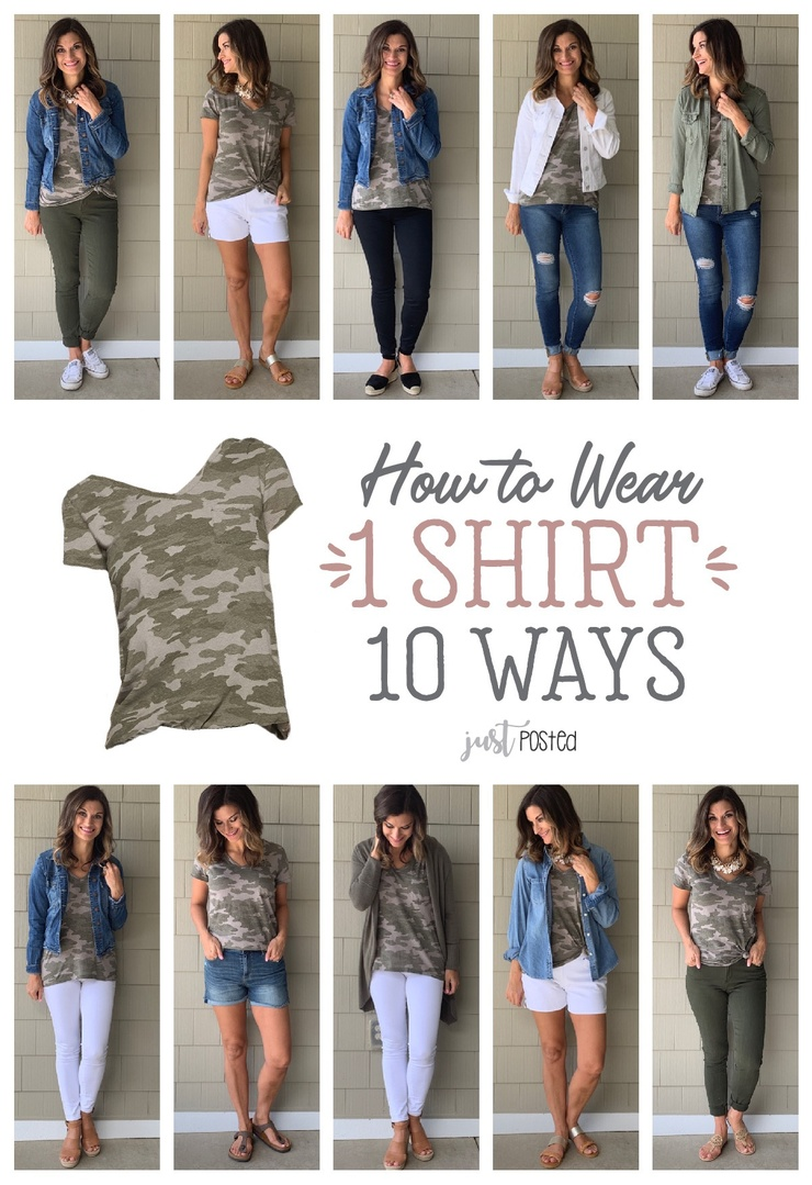 Look by Just Posted featuring Universal Thread Women's Camo Print Relaxed Fit Short Sleeve V-Neck Monterey Pocket T-Shirt - Universal Thread Green