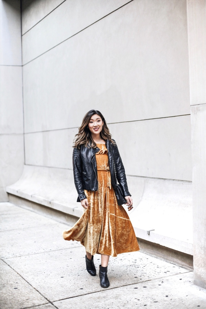 Velvet crush | the most perfect midi dress for Thanksgiving, mostly because it's a gorgeous marigold hue, $70, and loose at the waist!  #ShopStyle #ssCollective #MyShopStyle #ootd #holidaystyle #thanksgivingstyle #currentlywearing #wearitloveit #getthelook #todaysdetails #shopthelook