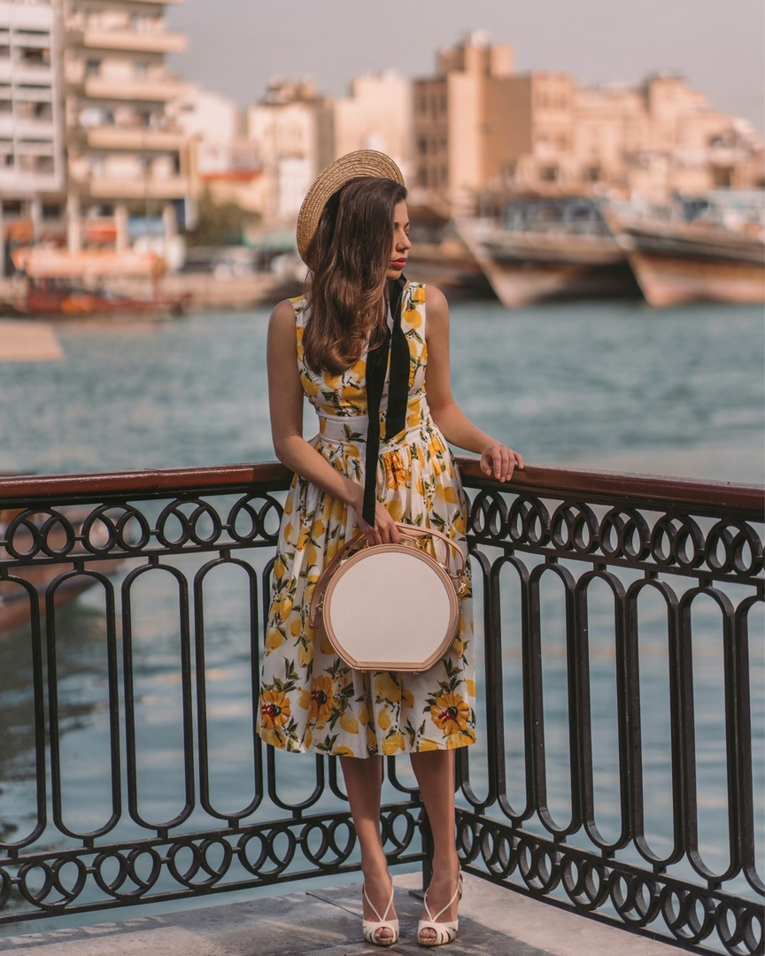 A day at the Dubai Creek. Wearing a beautiful custom made lemon dress by Hearts and Found and my hat box from SteamLine Luggage. #steamlineluggage #christianlouboutin #ShopStyle #MyShopStyle #LooksChallenge #ContributingEditor #Holiday #Lifestyle #TrendToWatch #Travel #Vacation