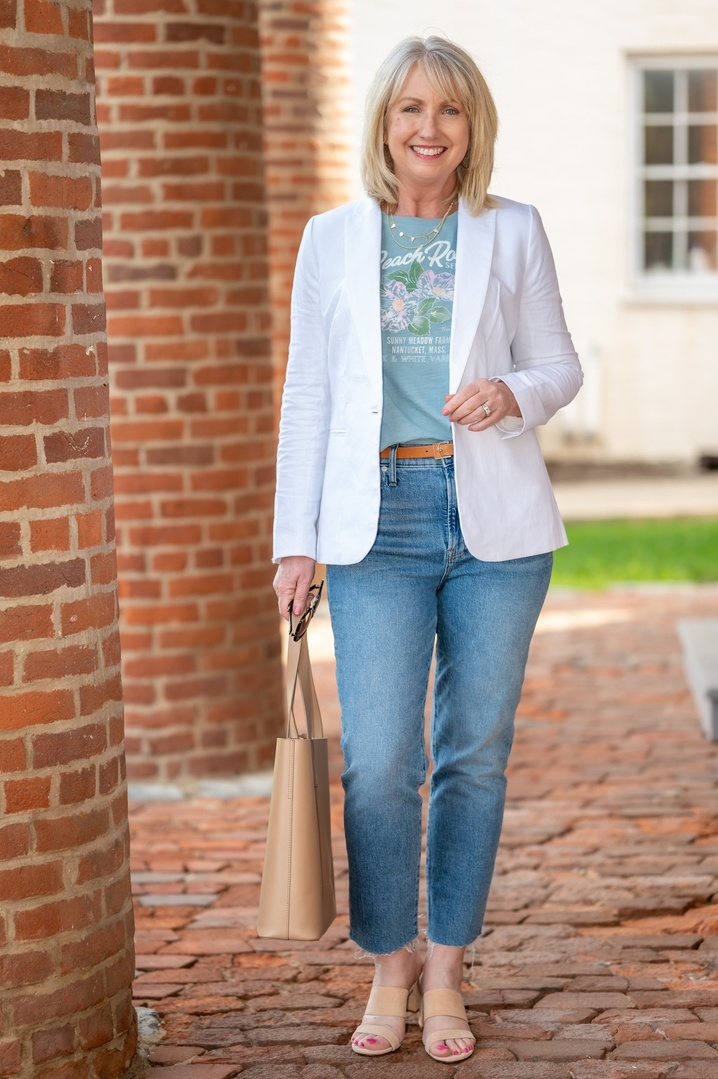 Look by Dressed For My Day featuring Linen-cotton Holland blazer