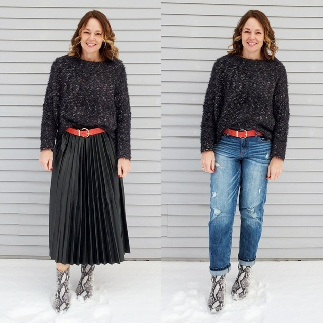 x leather skirt, and snakeskin booties #ShopStyle #MyShopStyle #pleatedskirt #jeansoutfit #casualstyle #chunkysweater #winter