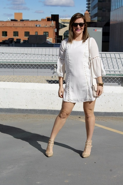 d the dress with nude accessories and messy hair (courtesy of the wind!)  #ShopStyle #TrendToWatch #springtrends #SpringStyle