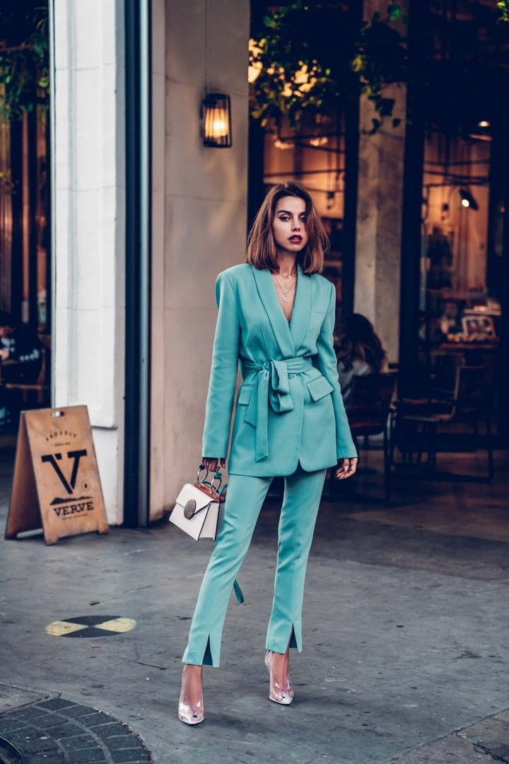 Wearing this amazing teal / mint suit by Tibi that I fell in love with the moment I saw it! Completed the outfit with clear pumps and Danse Lente color block bag  #outfit #suit #tealsuit #tibisuit #outfitidea #ContributingEditor
