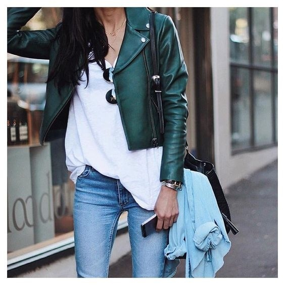 Green leather look  #shopthelook #SpringStyle #MyShopStyle #FestivalLooks #WearToWork #WeekendLook #TravelOutfit #ShopStyle
