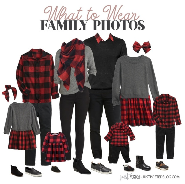 What to Wear for Family Photos featuring red and black buffalo plaid! This look is perfect for Christmas!