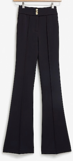High Waisted Gold Button Ribbed Flare Pant