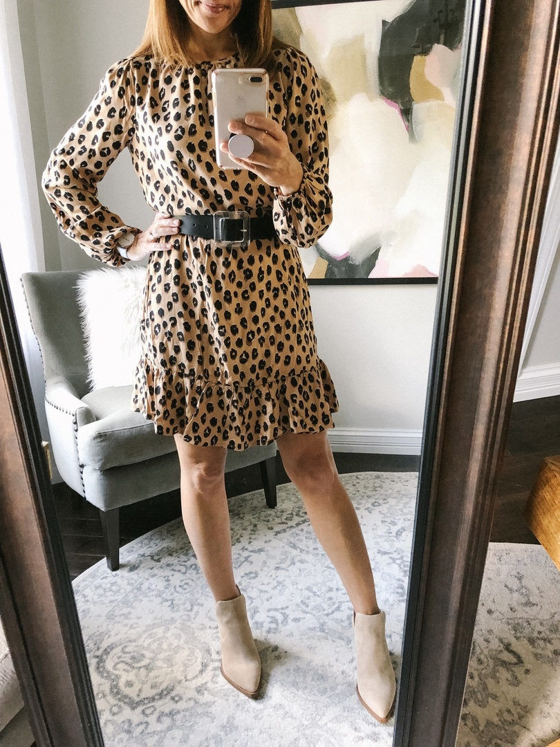 Look by coffeeandcannoli featuring A New Day Women's Leopard Print Long Sleeve Round Neck Mini Crepe Dress - A New DayTM Brown