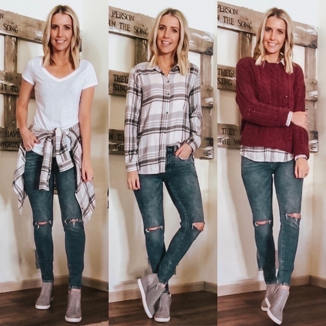 #plaidbuttonup #layeredoutfit #winterfashion #springfashion #discoverunder5k #minneapolisblogger #graybooties #wedgesneakers