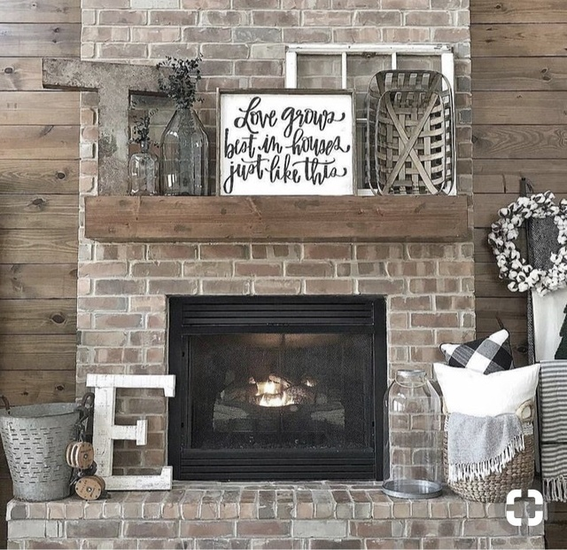 Rustic fireplace decor. Home decor #ad #ShopStyle