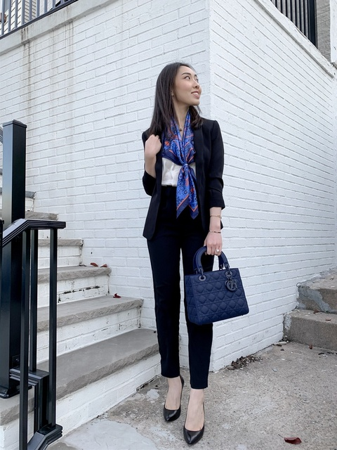 A silk scarf is a perfect pop of color to a monochrome outfit. #workchic #chic