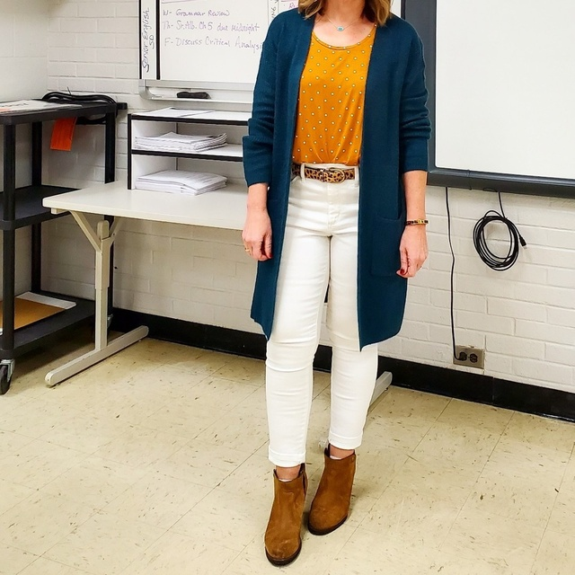 ots, and a tan cognac polka dot top. #ShopStyle #MyShopStyle #Winter #TEACHERSTYLE #teacher #casual #duster #teal #whitejeans