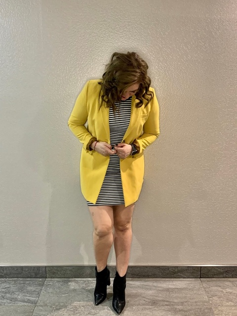 r on its own. I combined my go to kit striped  dress and pop of yellow  #LooksChallenge #TrendToWatch #ShopStyle #SpringStyle