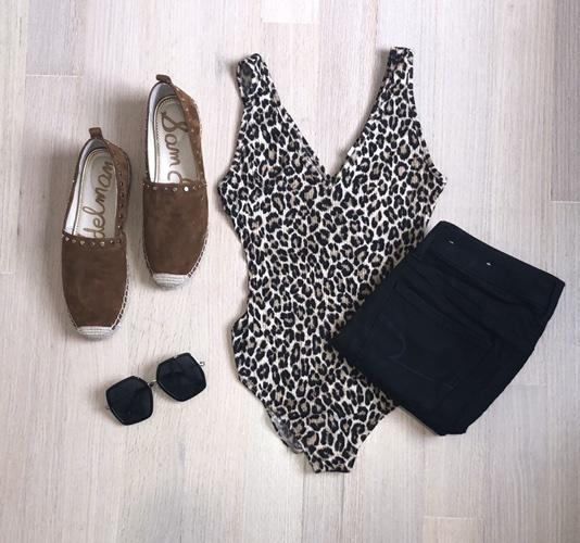 this for both Spring and Summer!  #summerlook #bodysuit #leopardprint #blackjeans #americaneagle #bigsunglasses #espadrilles