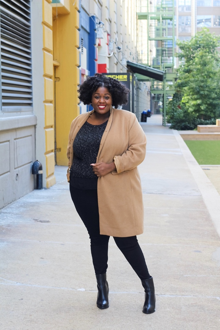 I am obsessed with wool coats paired with skinny jeans, and black booties.    #sponsored #ShopStyle #holidayfashion #plussize #winterstyle #plussizefashion