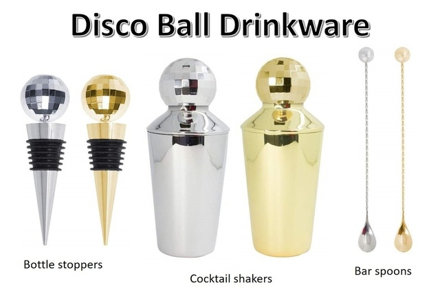 s, and bar spoons.   #discoball #mirrorball #drinkware #wine #bottlestopper #cocktailshaker #martinishaker #barspoon #barware