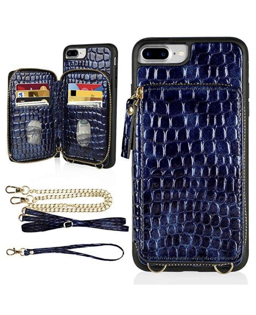 """Look by Jennifer sattler featuring LAMEEKU iPhone 8 Plus Wallet Case, iPhone 7 Plus Crocodile Skin Pattern Zipper Card Slot Case with Strap Crossbody Chain, Protective Phone Cover for iPhone 8 Plus/7 Plus 5.5""""-Blue"""