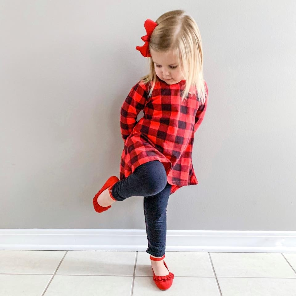 Look by Normal Life Mom featuring Toddler Infant Kids Baby Girls Plaid Print Dress Outfits Clothes Dress