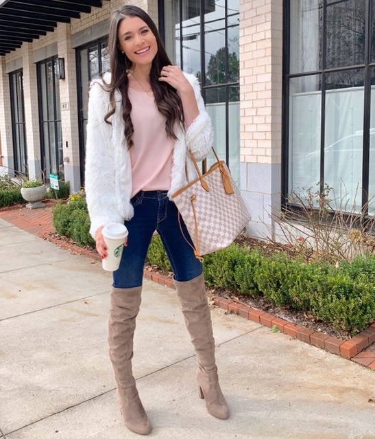 pink top, jeans, and taupe over the knee boots #otkboots #fauxfurjacket #whitefur #winterwhite #winterfashion #southernstyle