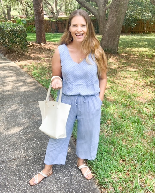 tions but I love this jumpsuit! The linen is lightweight and the fit is generous. I think it's super cute! TTS, wearing a 12.