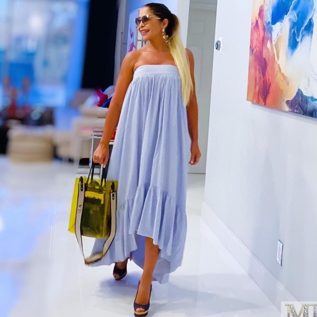 Look by Lissette Rondon  featuring LemLem - Net Sustain Eskedar Tiered Striped Cotton-blend Gauze Maxi Dress - Light blue