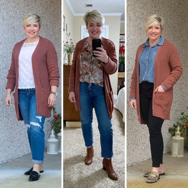 Three ways to wear a rust cardigan #ShopStyle #MyShopStyle #fashionover40 #fallstyle