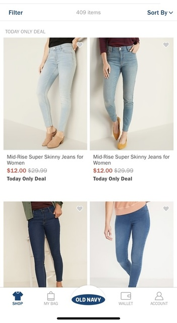 Today only old navy $12 jeans