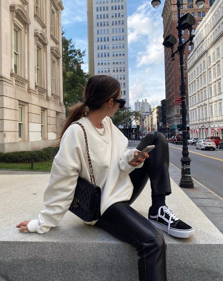 Look by Lily Montasser featuring Vans Black Old Skool Platform Sneakers