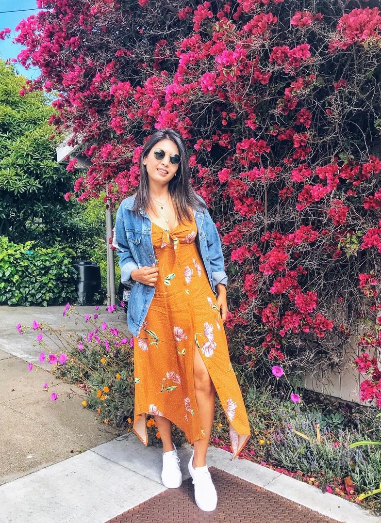 Marigold tie knot front handkerchief hem maxi dress, distressed boyfriend denim jacket, Adidas all white sneakers   #shopthelook #SummerStyle #OOTD #WeekendLook