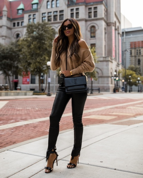 Fall outfit from Intermix. Camel sweater and black leather pants. #ad #Intermix #Fall #Fallfashion