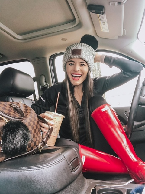 Rainy day athleisure calls for leggings and my red hunter rain boots and a love your melon beanie!