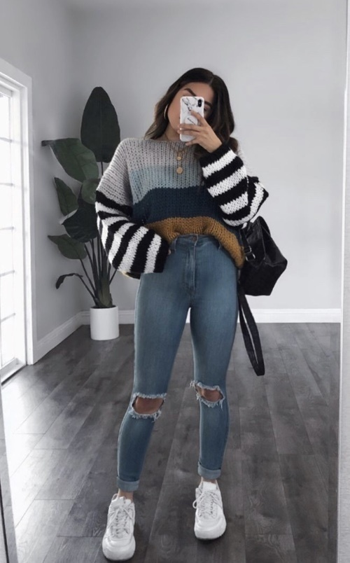 Look by emilyeadrian featuring ZESICA Women's Long Sleeve Crew Neck Striped Color Block Casual Loose Knitted Pullover Sweater Tops