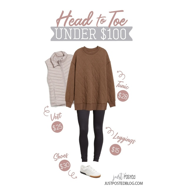 quilted tunic is such a cute color, and add this puffer vest, black leggings and these cute tennis shoes to finish the look!