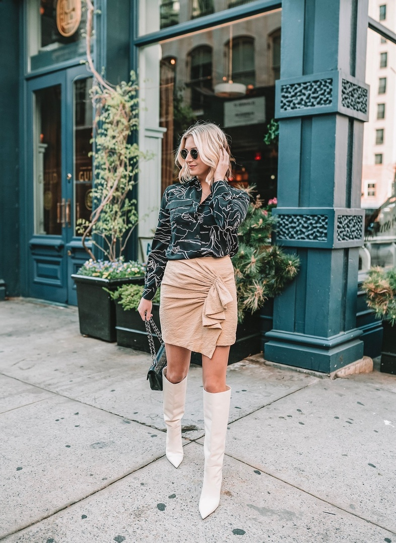 Yay! It's finally warm enough to wear skirts again! Since we're still transitioning into spring, I love pairing a short skirt with knee high boots. It's the perfect pairing for the transition into warmer weather!✨ #ShopStyle #MyShopStyle #ContributingEditor #TrendToWatch