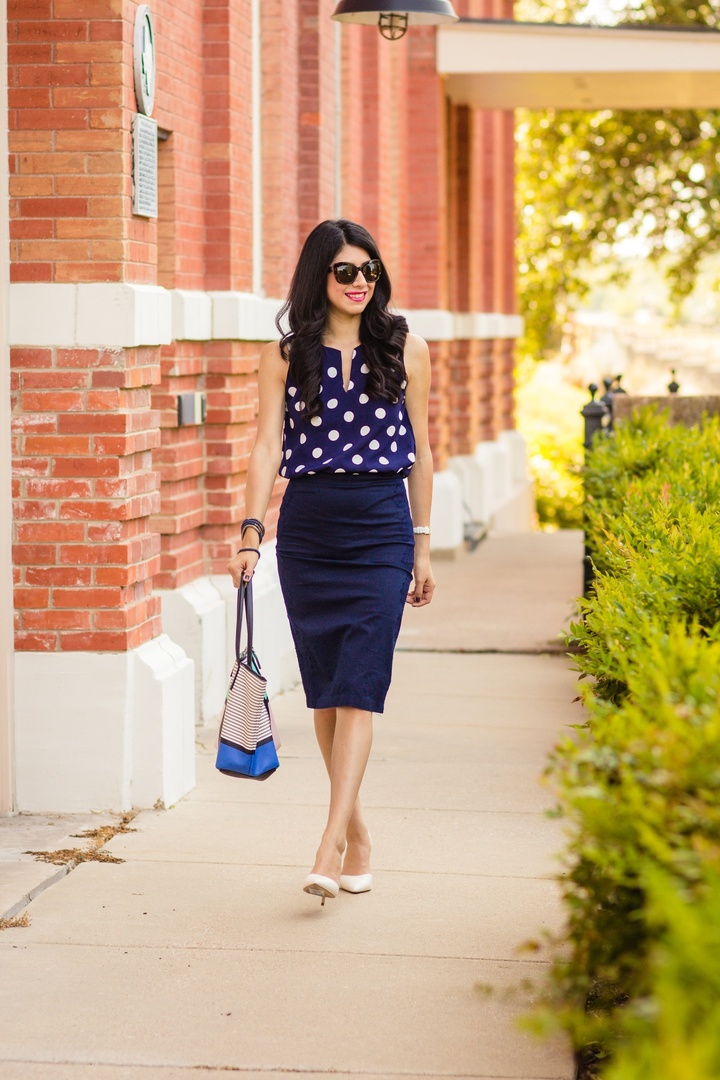 Picking the right prints for work can be challenging! Read my tips and suggestions on how to find the perfect designs for the office #printsforwork #workprints #howtowearprintsatwork #polkadots #pencilskirt #workready #workoutfitoftheday #howtowearprintsattheoffice #dallasblogger #dallasfashion #ssCollective #lookoftheday #getthelook #todaysdetails #currentlywearing #ShopStyleCollective #MyShopStyle #wearitloveit