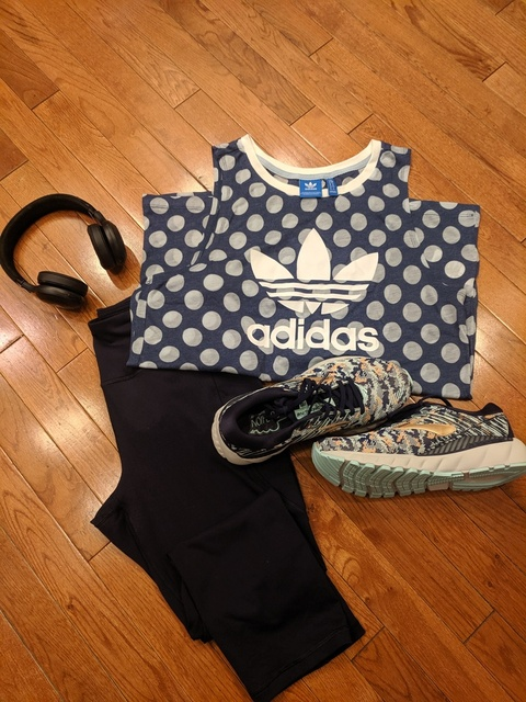 Perfect athletic wear for fall! #coffeeandhugsblog #fitness #adidas #brooksshoes #LooksChallenge #Flatlay