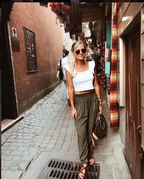 How to dress appropriately while still being stylish in Marrakech, Morocco #morocco #marrakech #moroccoinstyle #africa #style #scarf #pants #sandals #sunglasses #raybans #dumbblondetravels #ssCollective #ShopStyleCollective #MyShopStyle #ootd #mylook #lookoftheday #currentlywearing #todaysdetails #getthelook #wearitloveit