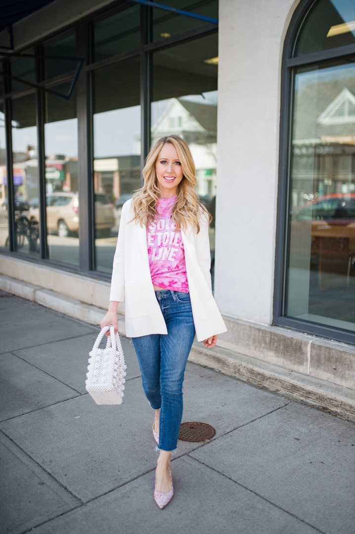 The tie-dye trend is big for 2019.  To make this look more chic and polished, try adding a sweater blazer and beaded bag.  You get an instant chic look! #thefashionhousemom #ShopStyle #MyShopStyle #LooksChallenge #ContributingEditor #Lifestyle #TrendToWatch #Petite #springlook #spring #springstyle #springoutfit #style #fashion #tiedye #springtrend
