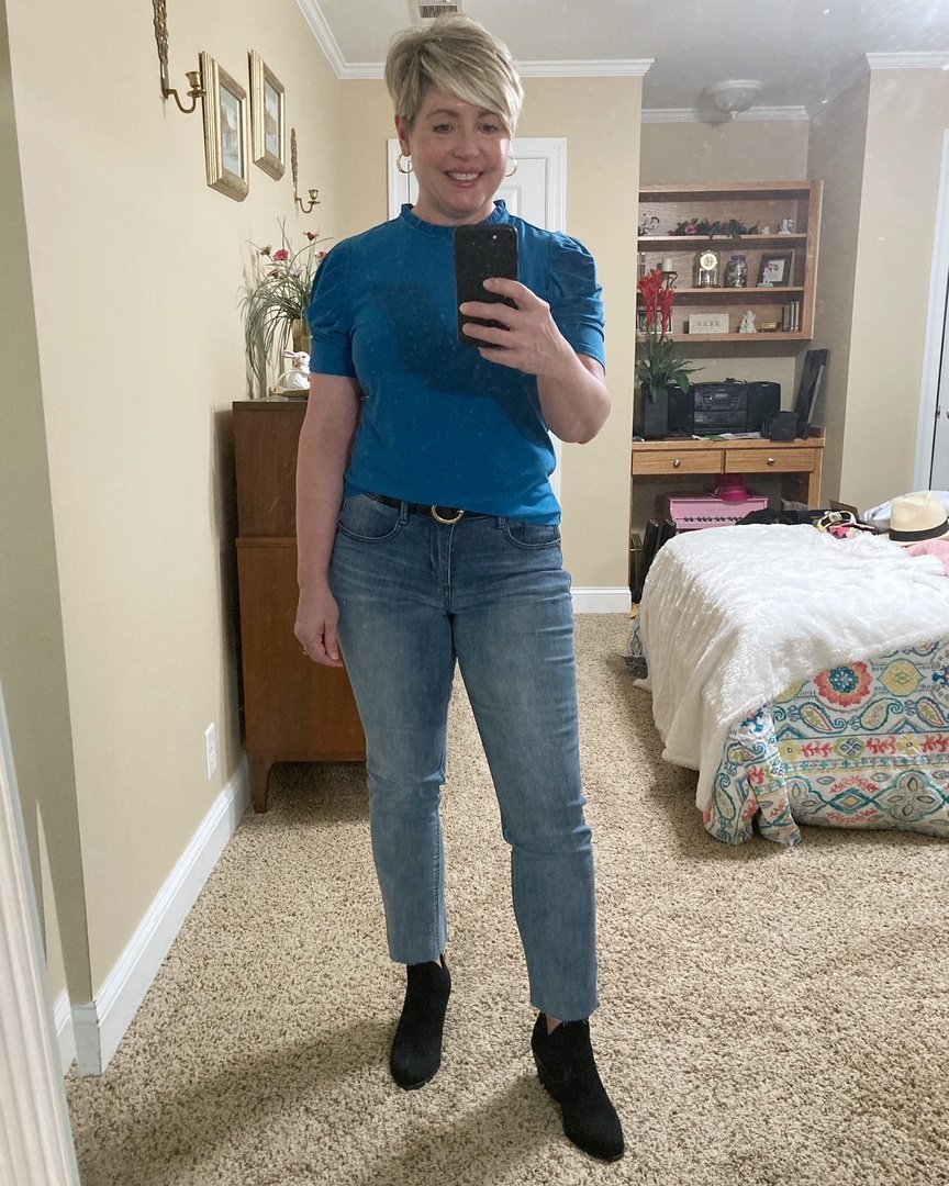 Look by Savvy Southern Chic featuring Ab-Solution Raw Hem Straight Leg Jeans