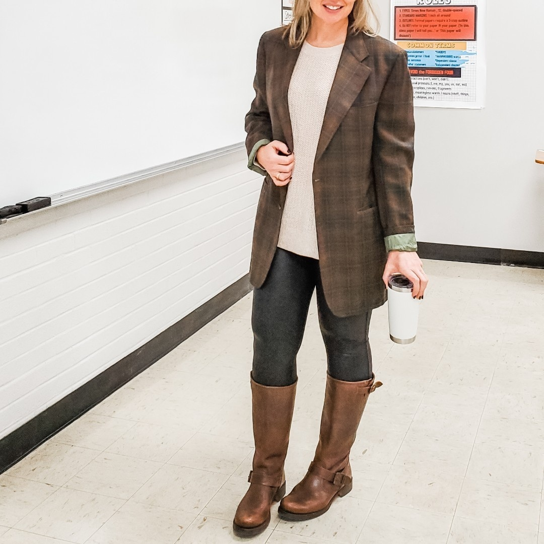 Look by everydayteacherstyle featuring Spanx Faux Leather Leggings