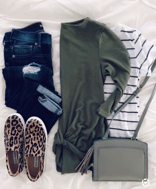 fashion. Leopard slip on fashion sneakers, striped tee, sage green cross body & 3/4 length sleeves.   #ShopStyle #MyShopStyle