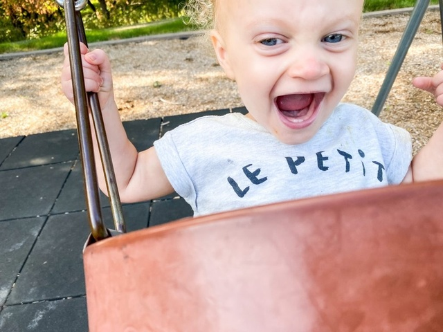 The joy she feels when swinging is out of this world!