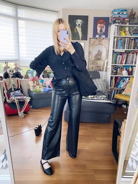 I Wore This week | Silk Blouse | Leather Trousers | Mary Jane Flats | Tote | Necklace | livelovesara  #ShopStyle #MyShopStyle