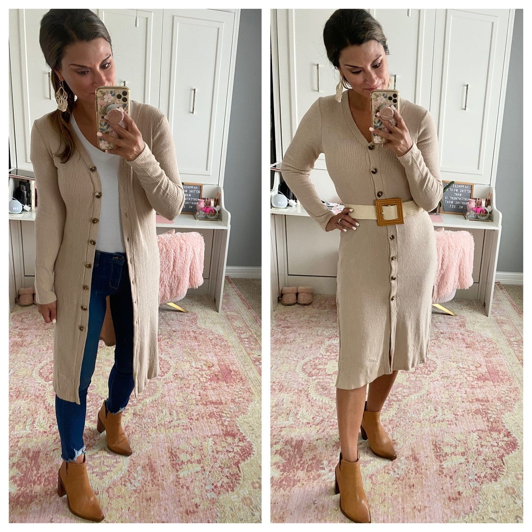 Look by Just Posted featuring Duster Cardigan Sweater with Side Slits