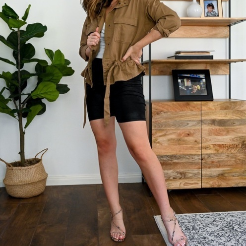 Dress up your biker shorts for fall with this utility jacket and snake-print sandals #styleinspiration #walmart #style