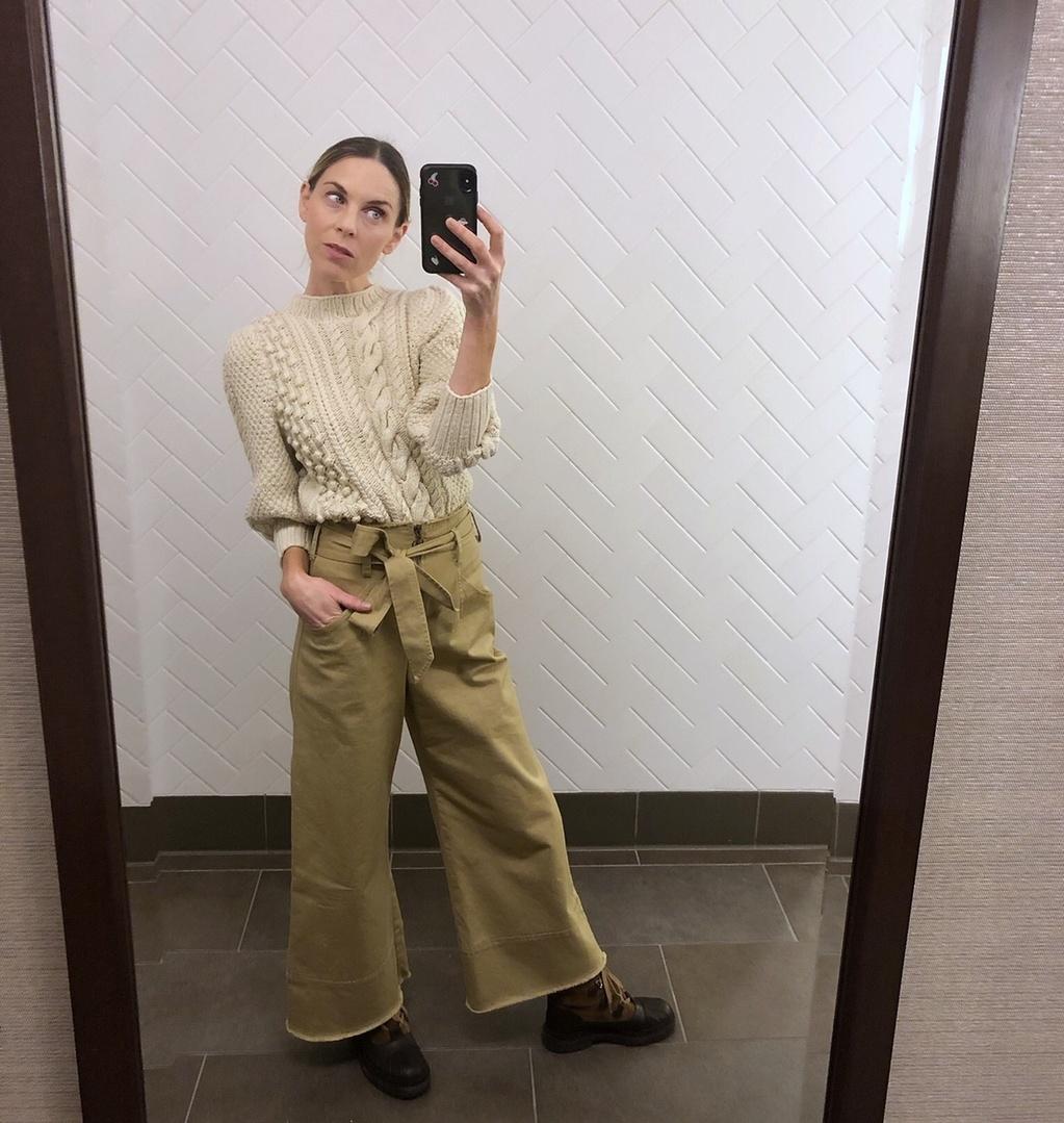 Beauty #Lifestyle #TrendToWatch #Petite #apieceapart #knitsweater #chanelboots #widelegpants #neutrals #monotone #winterstyle