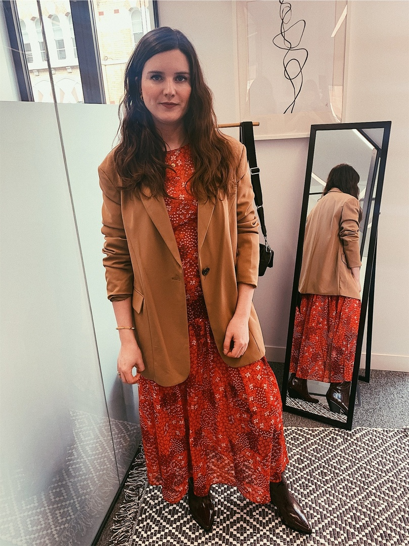e your tailoring a feminine feel with a floral midi dress and knee high western boots.   #StyleMeShopStyle #Floral #Tailoring