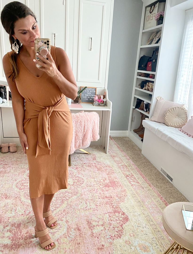 Look by Just Posted featuring Sleeveless V-Neck Tie Waist Dress with Side Slits