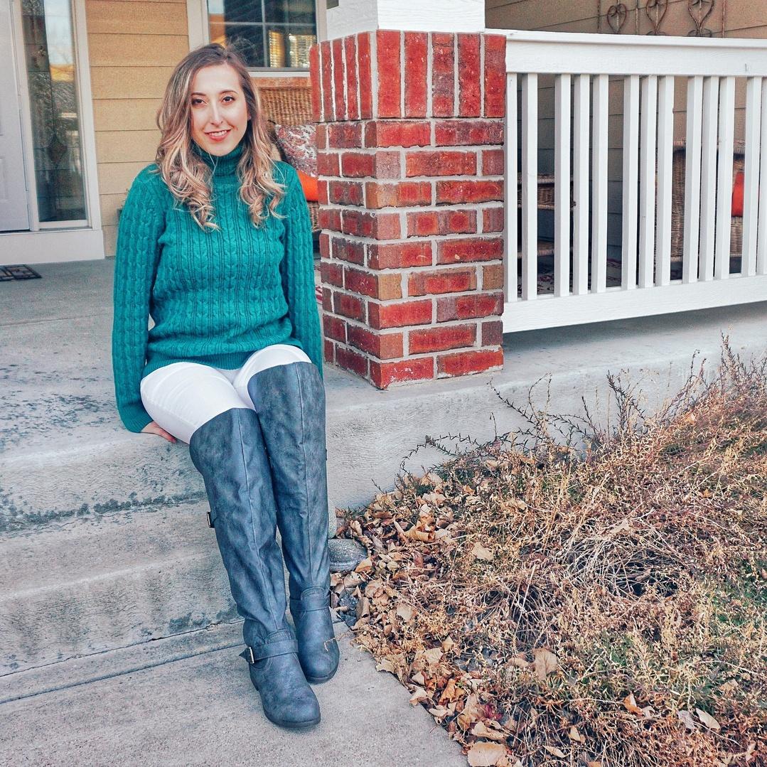 Look by xoamela featuring St. John's Bay Womens Turtleneck Long Sleeve Pullover Sweater