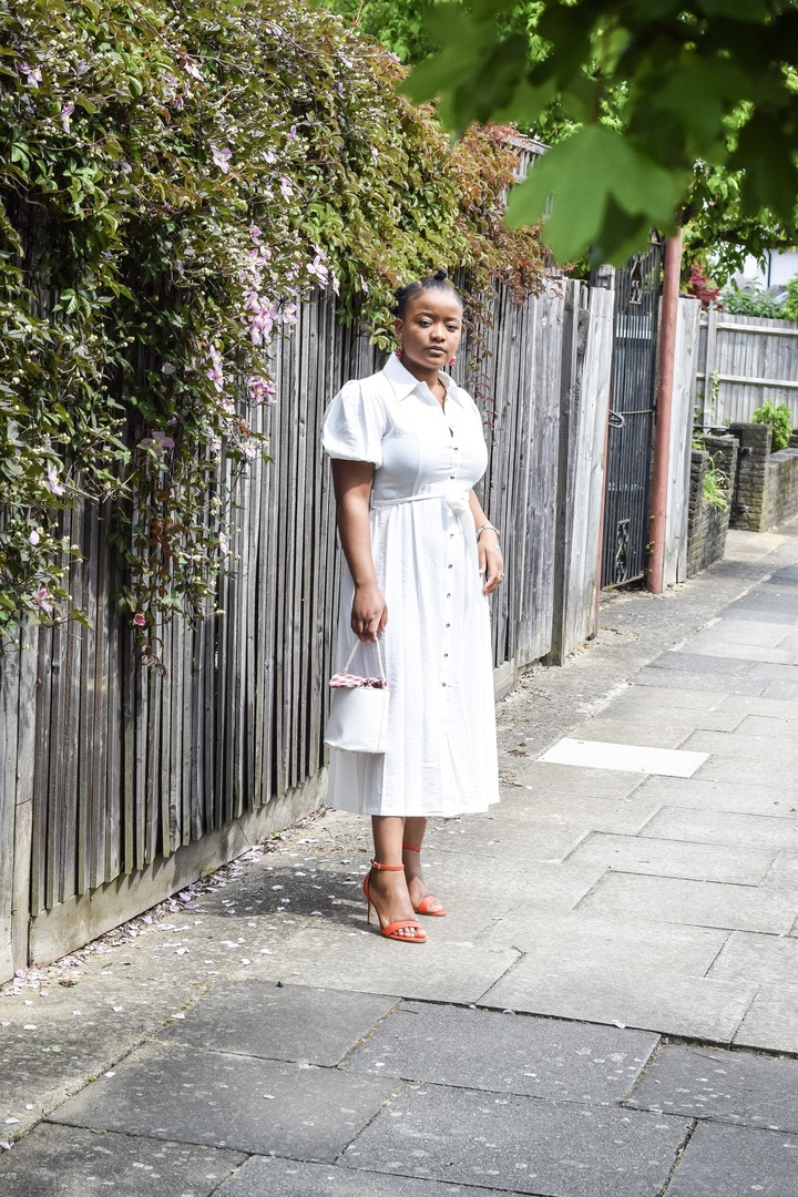 Look by Carolyne Madubuike featuring La Redoute Collections Linen Mix Tie-Waist Shirt Dress