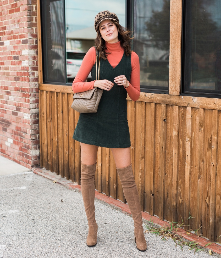 Look by Amanda Miller featuring AE Studio Corduroy Mini Dress